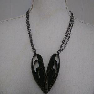 4/$25 Zipper heart triple chain necklace